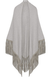 + Barbajada leather-fringed cashmere shawl