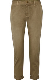 Current/Elliott The Buddy cropped washed cotton-twill tapered pants