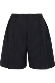 Midnight satin-trimmed pinstriped wool shorts