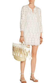 + En Shalla embellished raffia and leather tote
