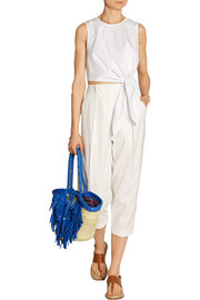 + En Shalla fringed raffia and leather tote