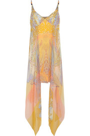 Draped printed silk-georgette dress