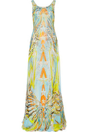 Layered printed silk-chiffon gown