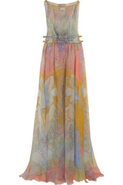 Printed silk-chiffon maxi dress