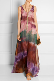 Emilio Pucci Layered tie-dyed silk-chiffon gown