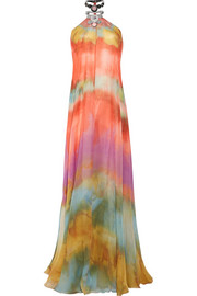 Embellished tie-dyed silk-chiffon gown