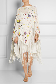 Embellished crocheted cotton-blend poncho