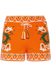 Intarsia cotton-blend terry shorts