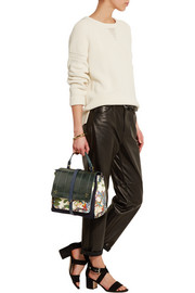 Edouard watersnake, suede and floral-print twill tote