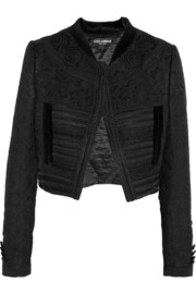Cropped velvet-trimmed embroidered jacquard jacket