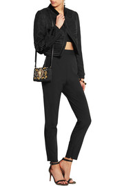 Dolce & Gabbana Cropped velvet-trimmed embroidered jacquard jacket