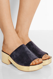 Suede and wood platform clogs