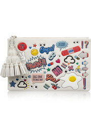 Stickered-Up Georgiana embossed leather clutch