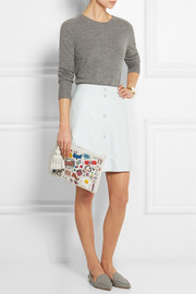 Anya Hindmarch Stickered-Up Georgiana embossed leather clutch