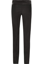 Arlo satin-trimmed crepe slim-fit pants