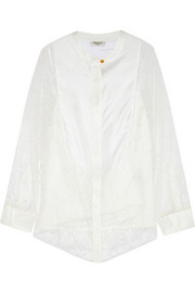 Beatrice silk twill-paneled lace shirt