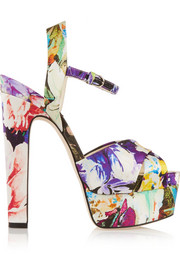 Madison printed satin platform sandals