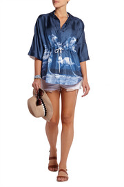Brela printed silk and cotton coverup