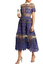 Self-Portrait Liliana paneled floral-lace and mesh dress
