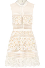 Graciella paneled floral-lace and mesh mini dress