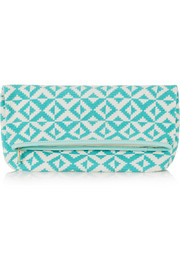 Abril leather-trimmed crocheted cotton clutch