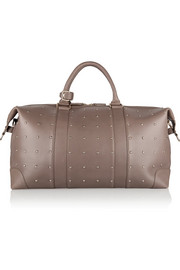 The Voyager studded textured-leather weekend bag