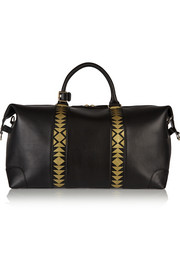 The Voyager printed textured-leather weekend bag