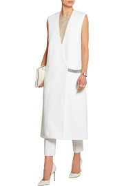Sleeveless stretch-cady coat