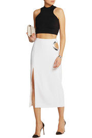 Embellished cutout stretch-cady skirt