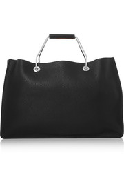 College color-block textured-leather tote