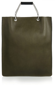 College two-tone textured-leather tote