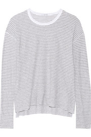 Striped cotton and linen-blend jersey top