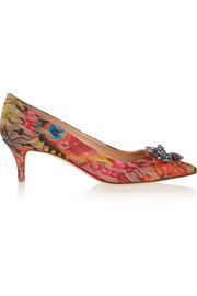 J.Crew Collection crystal-embellished embroidered mesh pumps