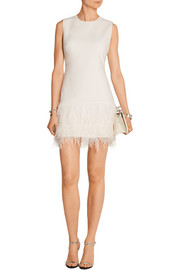 India feather-trimmed stretch-crepe mini dress