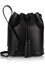 Carriage large leather bucket bag
