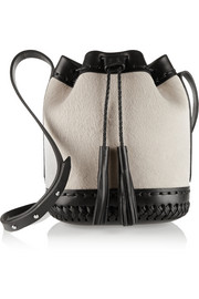 Pony Carriage mini lamb hair and leather bucket bag