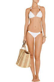 Faux leather-trimmed triangle bikini top