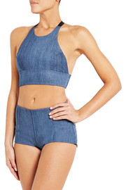 James stretch-denim soft-cup bra