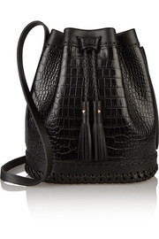 Carriage croc-effect leather bucket bag