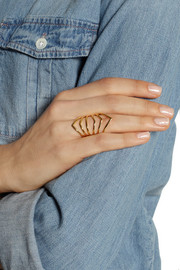 Arme De L'Amour Reverse Chevron gold-plated ring