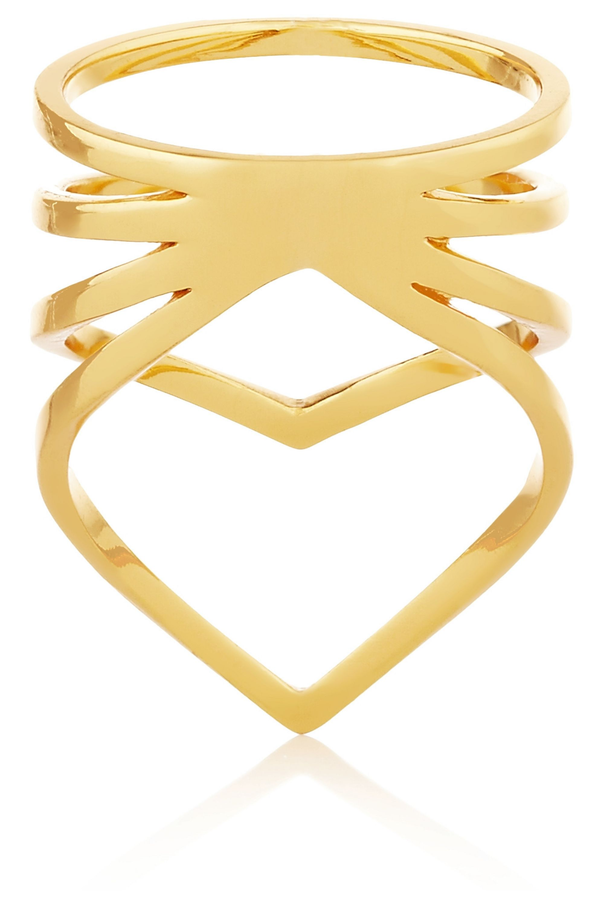 Arme De L'Amour Chevron gold-plated ring