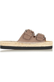 Leather espadrille slides
