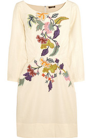 Floral-embroidered matelassé mini dress