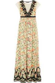 Embellished tulle and printed satin maxi dress