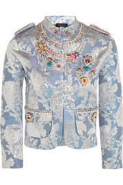 Embellished metallic brocade jacket