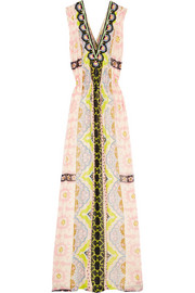 Embellished printed georgette maxi dress