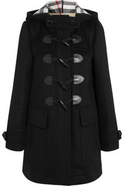 Leather-trimmed wool-felt duffle coat