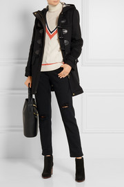 Burberry Brit Leather-trimmed wool-felt duffle coat
