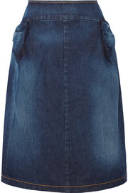 Gathered denim skirt