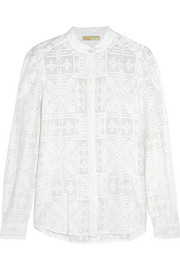 Embroidered cotton and silk-blend blouse